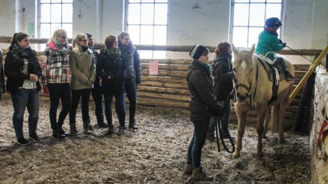 Auf dem Hof Ne-Bo-Bi in Stockhausen lernten die Ergotherapeuten das heilpädagogische Reiten kennen. Foto: SMMP